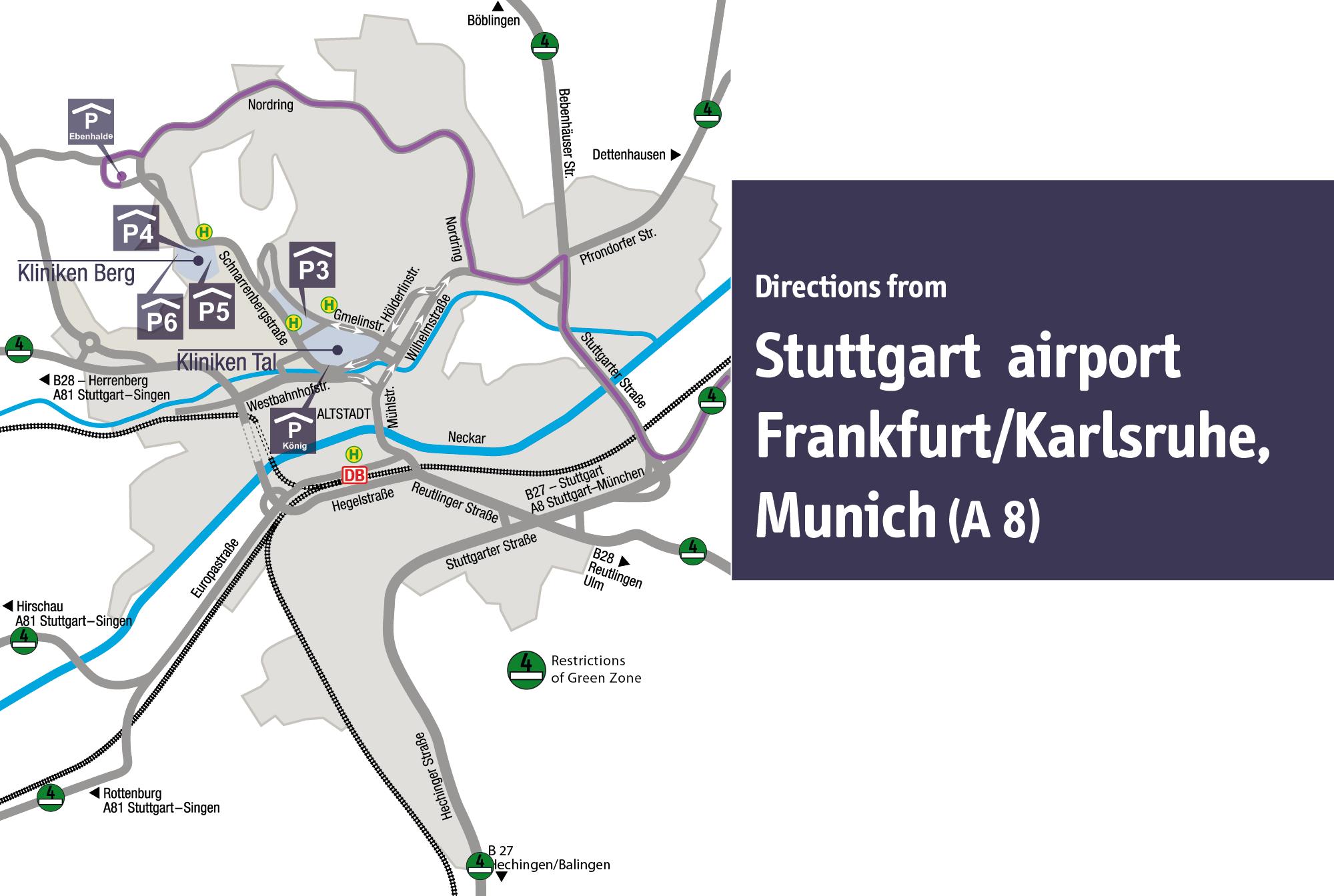 Umweltzone Karlsruhe Karte.Universitätsklinikum Tübingen Lageplansystem Anreise Pkw Morgenstelle